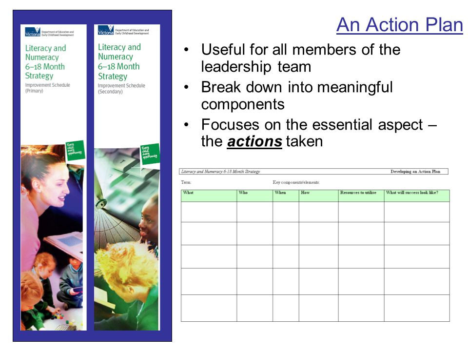 An Action Plan Useful for all members of the leadership team