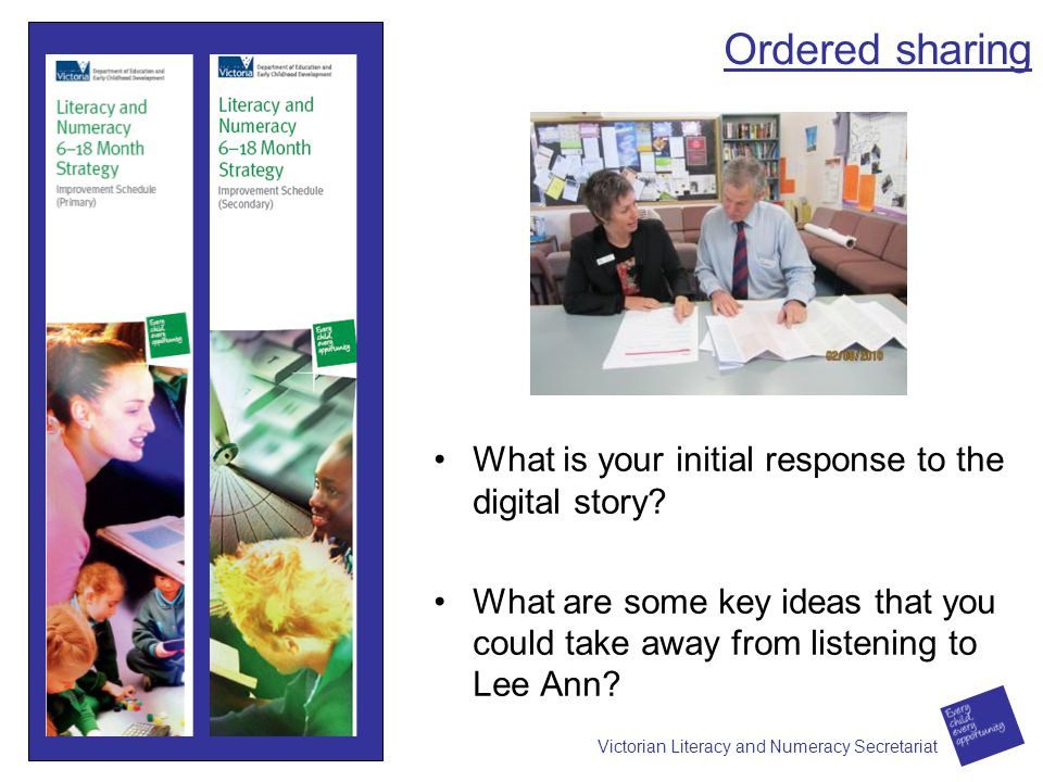 Ordered sharing What is your initial response to the digital story