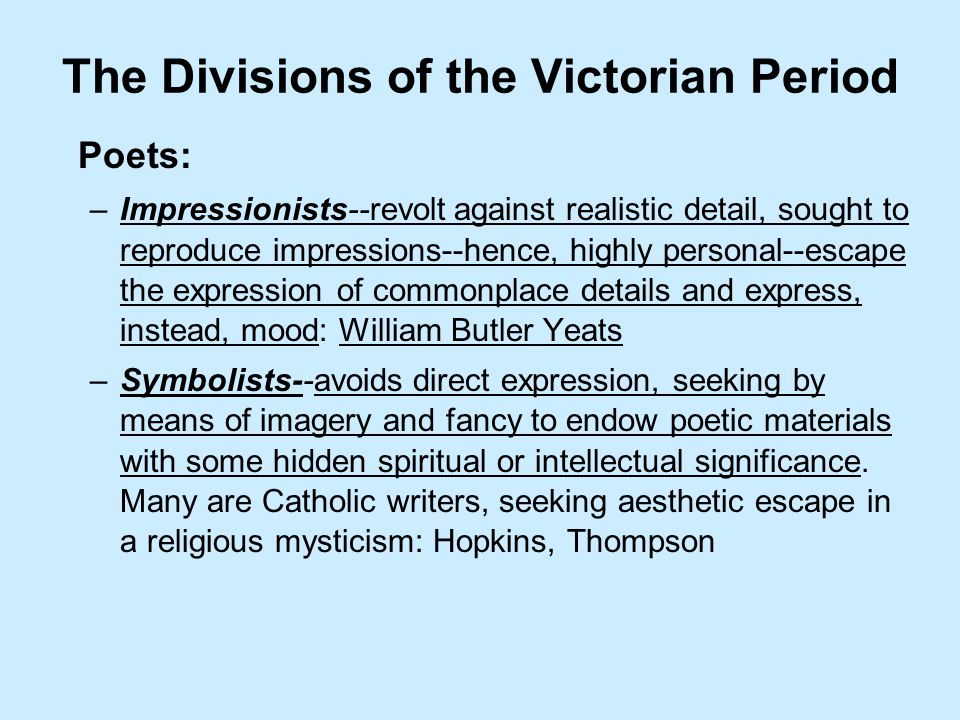 The Divisions of the Victorian Period