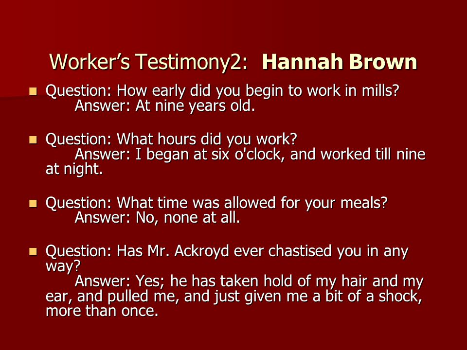 Worker's Testimony2: Hannah Brown