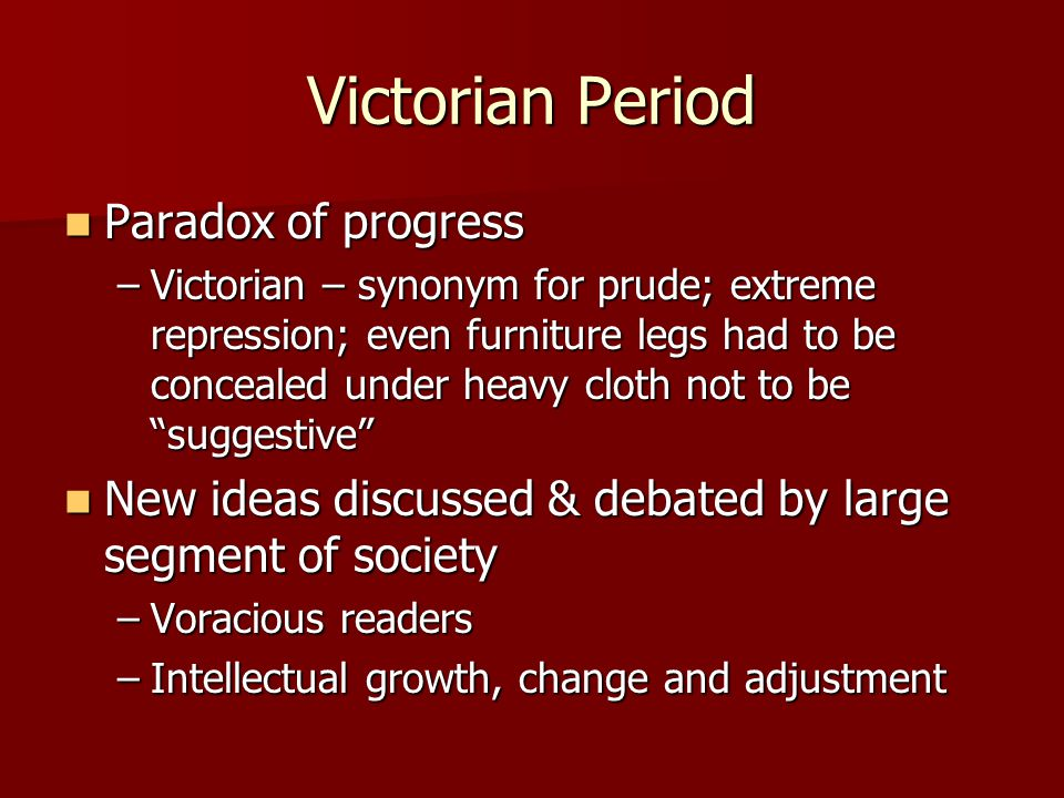 Victorian Period Paradox of progress