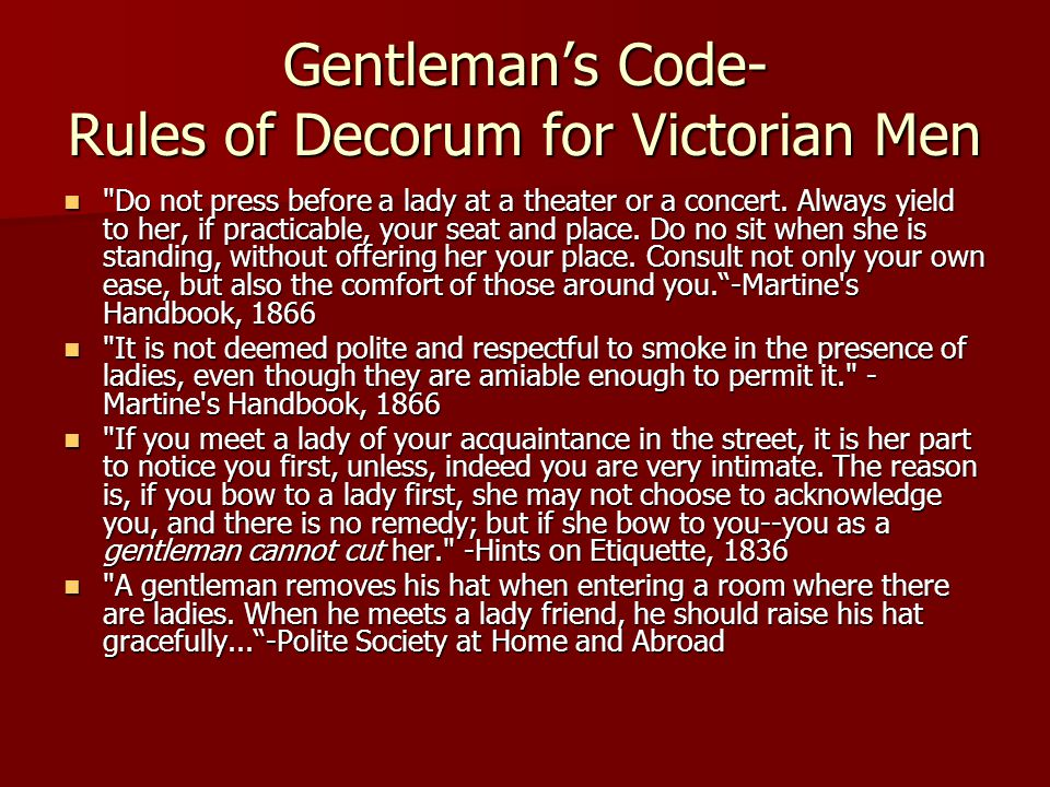 Gentleman's Code- Rules of Decorum for Victorian Men