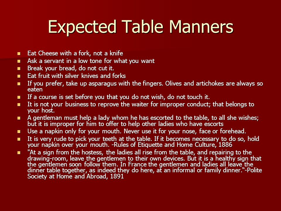 Expected Table Manners