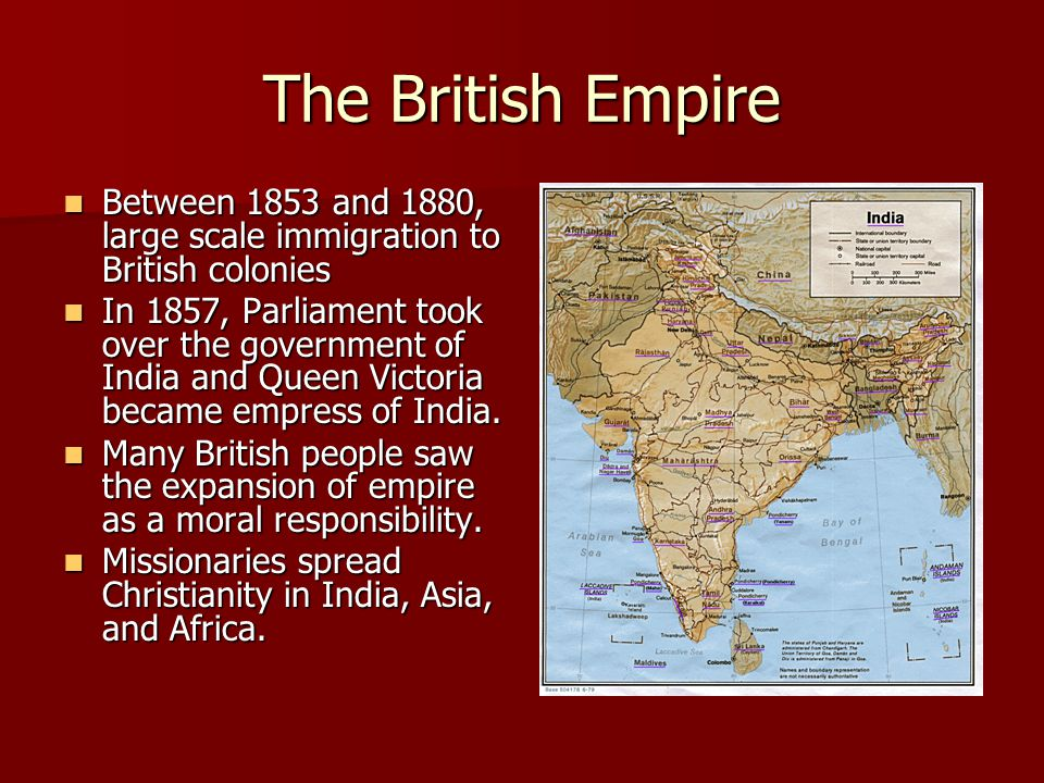 The British Empire Between 1853 and 1880, large scale immigration to British colonies.