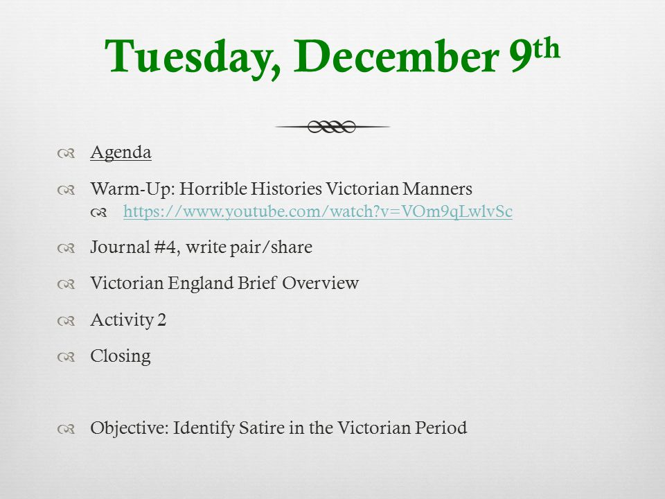 Tuesday, December 9th Agenda