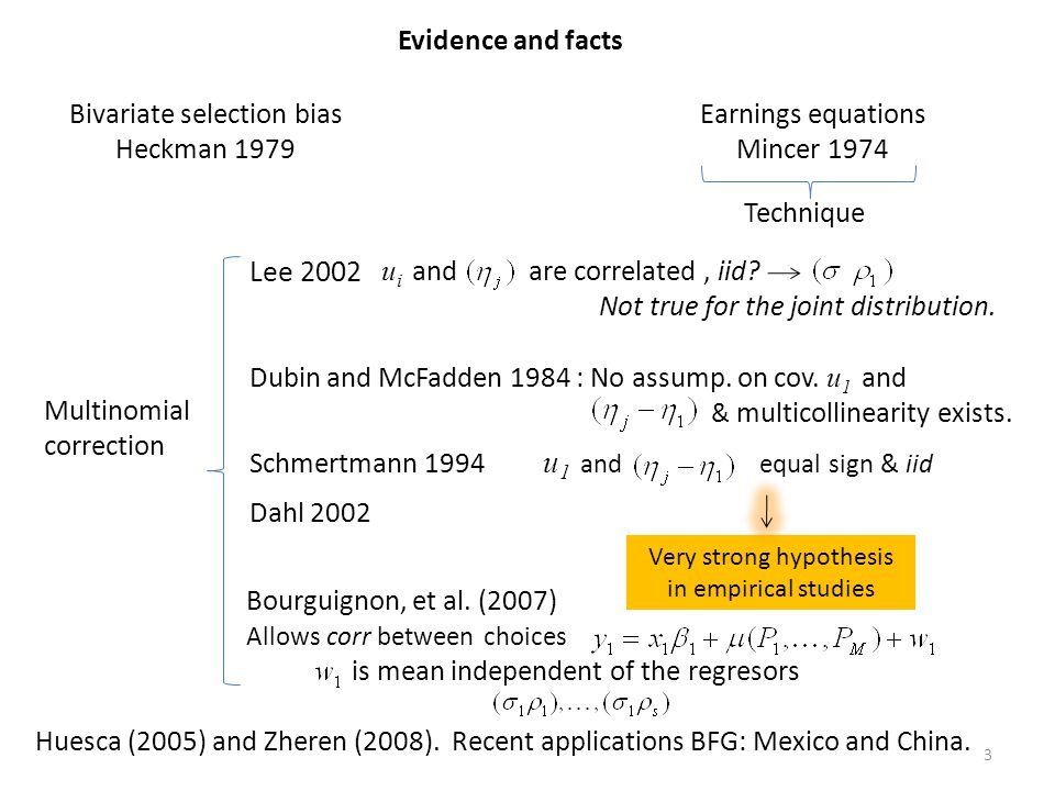 Lee 2002 Evidence and facts Bivariate selection bias Heckman 1979