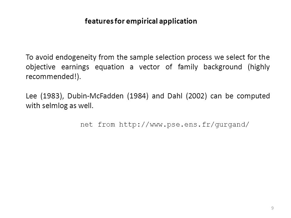 features for empirical application