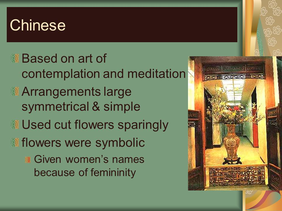 Chinese Based on art of contemplation and meditation