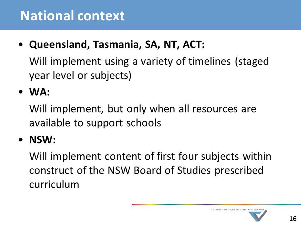 National context Queensland, Tasmania, SA, NT, ACT: