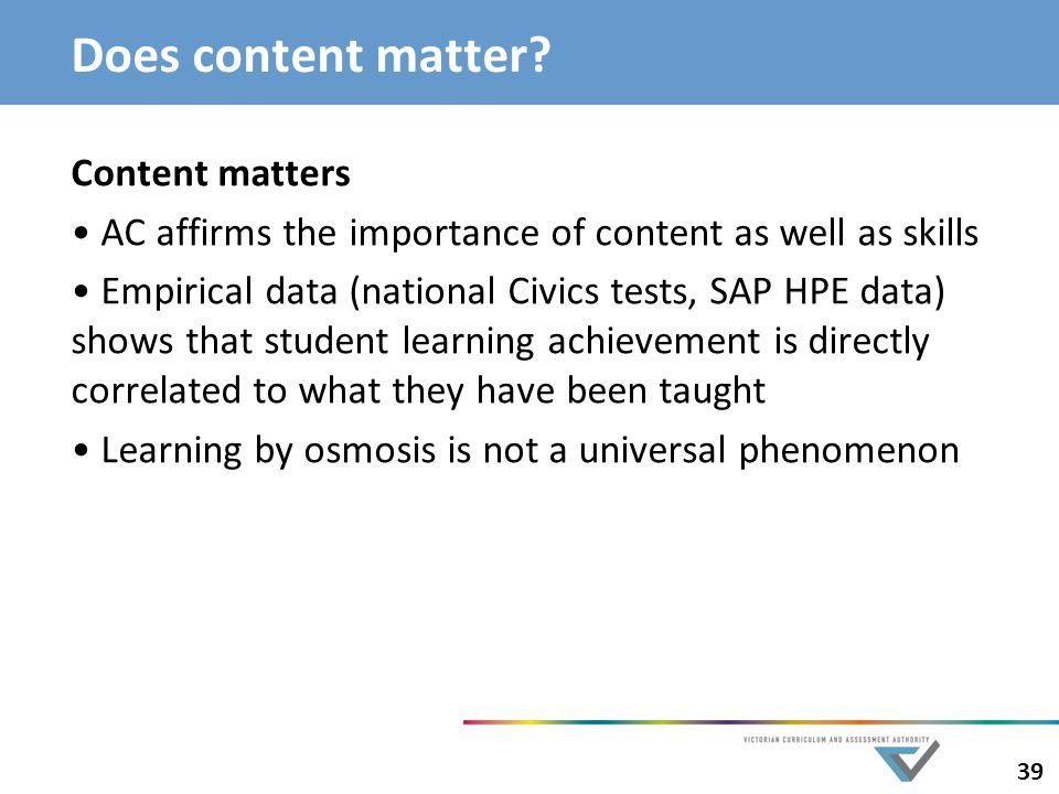 Does content matter Content matters