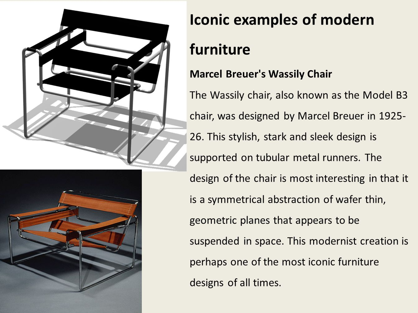 Iconic examples of modern furniture
