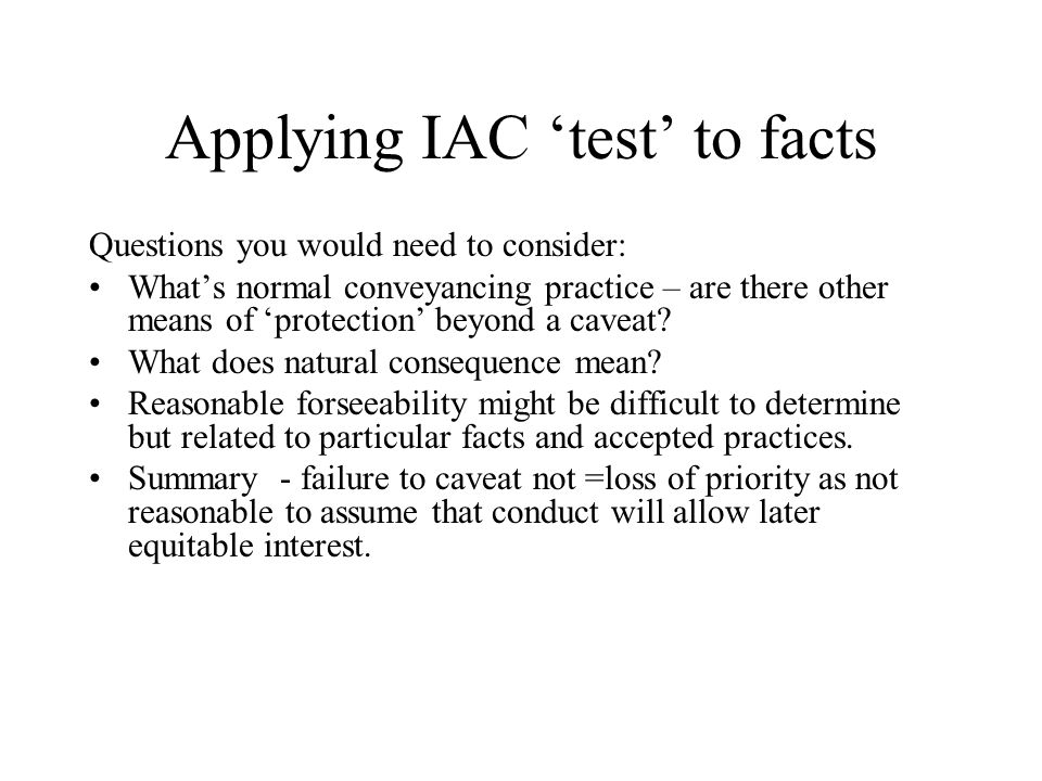 Applying IAC 'test' to facts