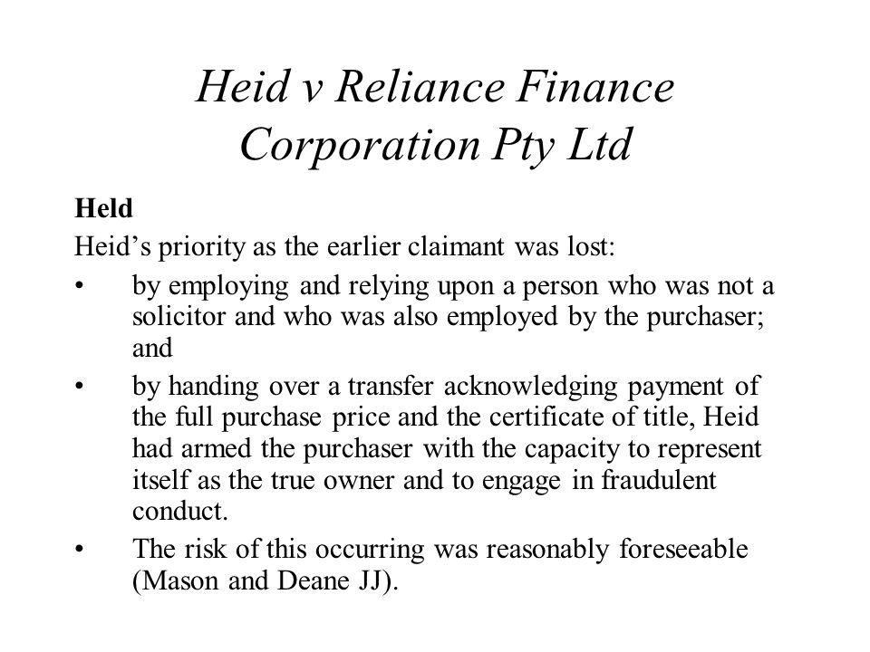 Heid v Reliance Finance Corporation Pty Ltd