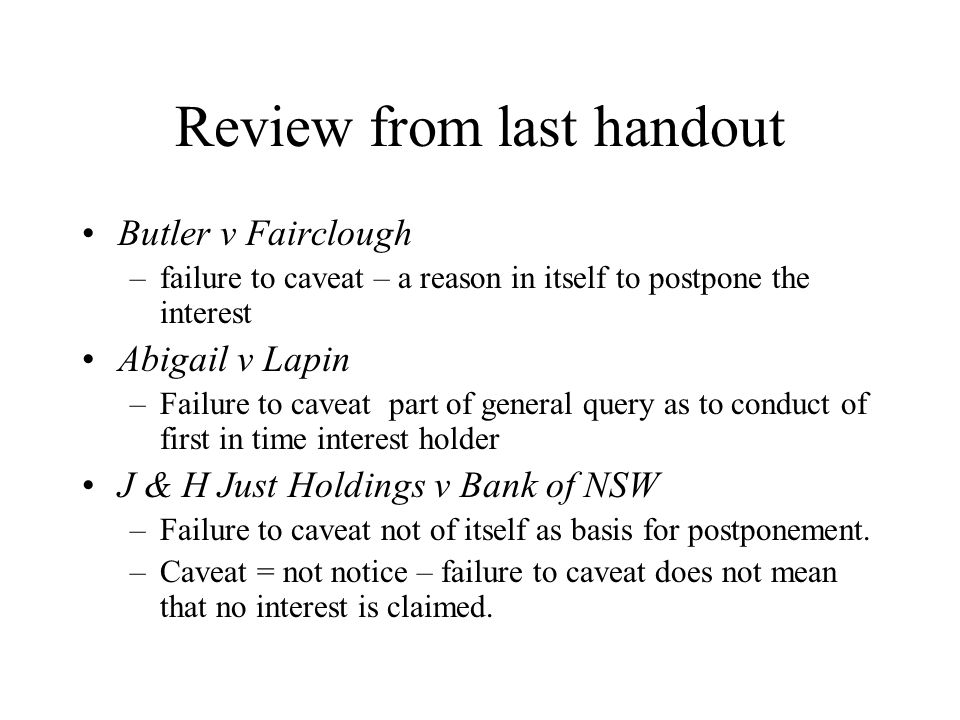 Review from last handout