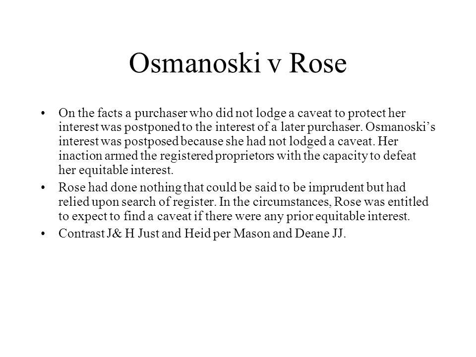 Osmanoski v Rose