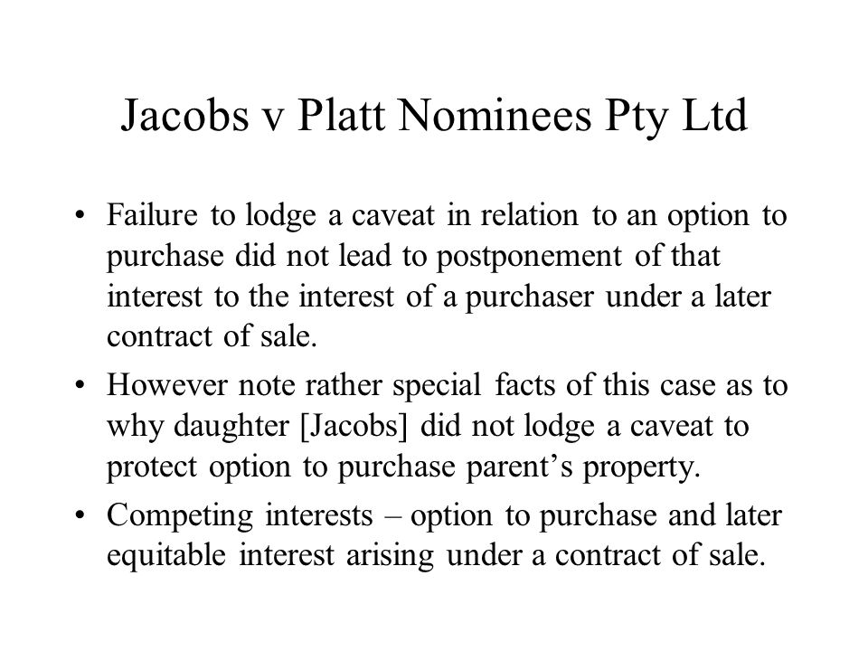 Jacobs v Platt Nominees Pty Ltd