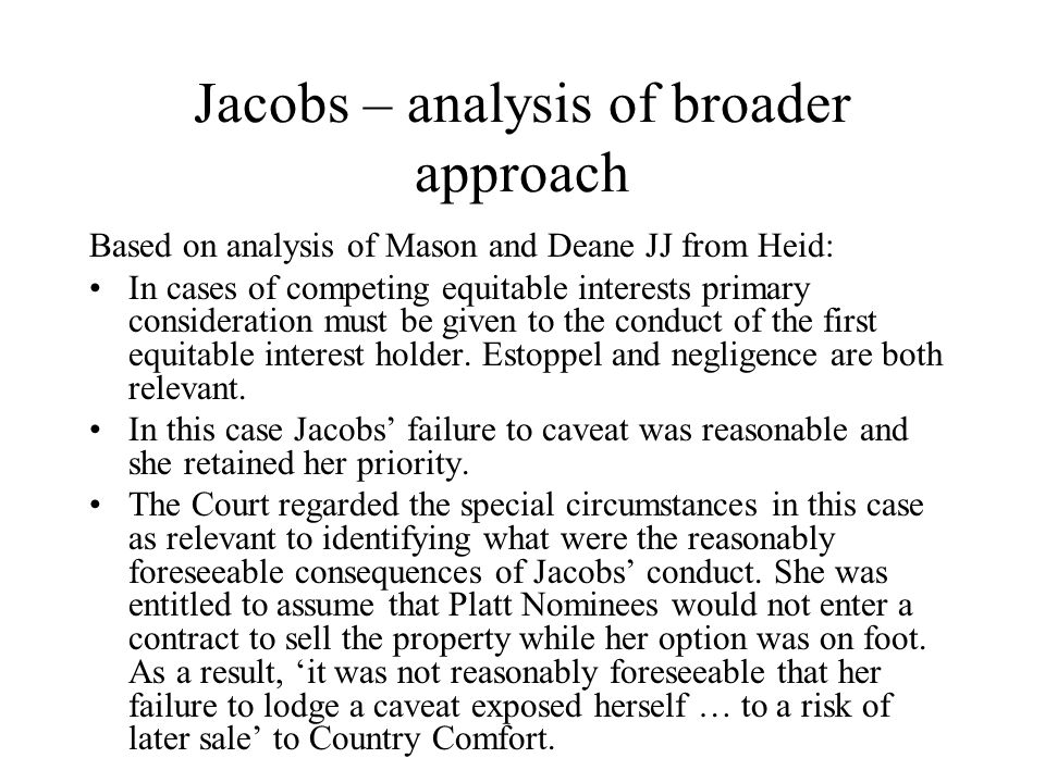 Jacobs – analysis of broader approach
