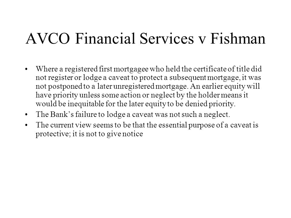 AVCO Financial Services v Fishman