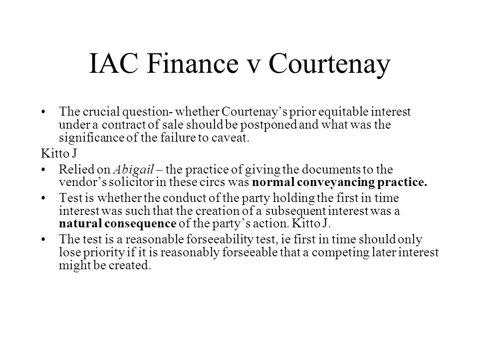 IAC Finance v Courtenay