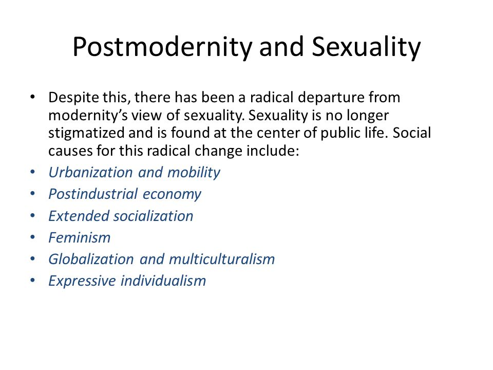 Postmodernity and Sexuality