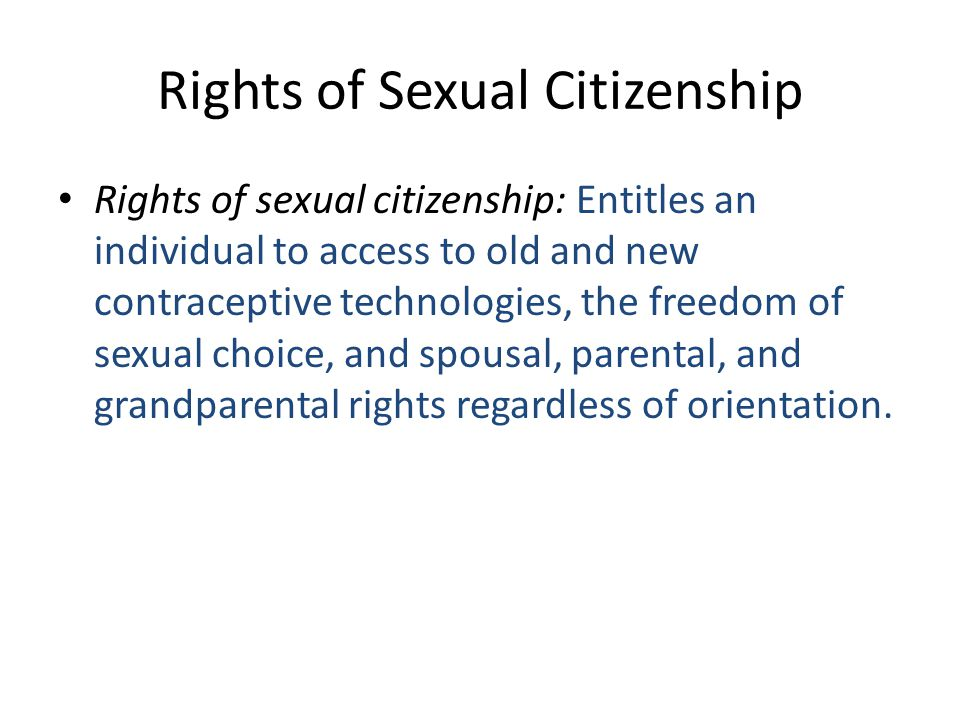 Rights of Sexual Citizenship