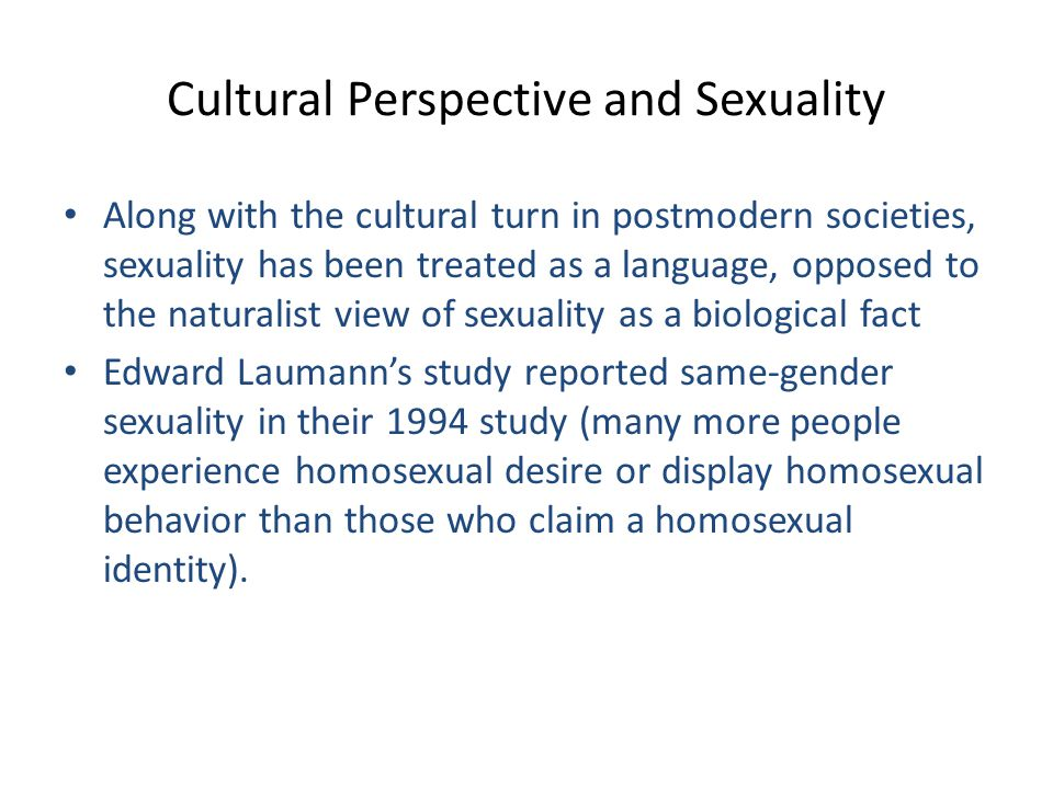 Cultural Perspective and Sexuality