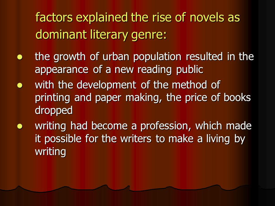 factors explained the rise of novels as dominant literary genre: