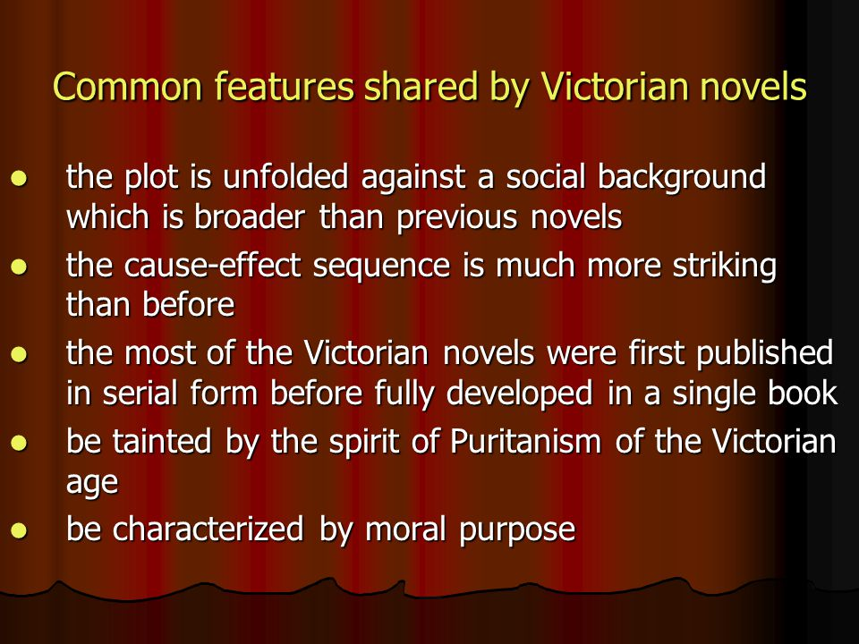 Common features shared by Victorian novels