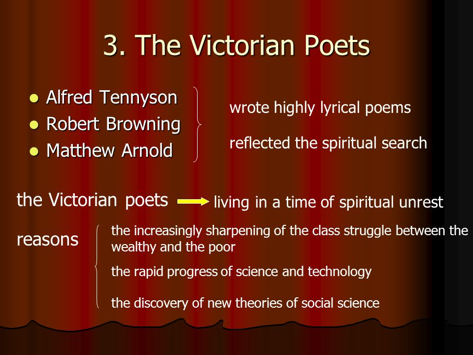 3. The Victorian Poets Alfred Tennyson Robert Browning Matthew Arnold