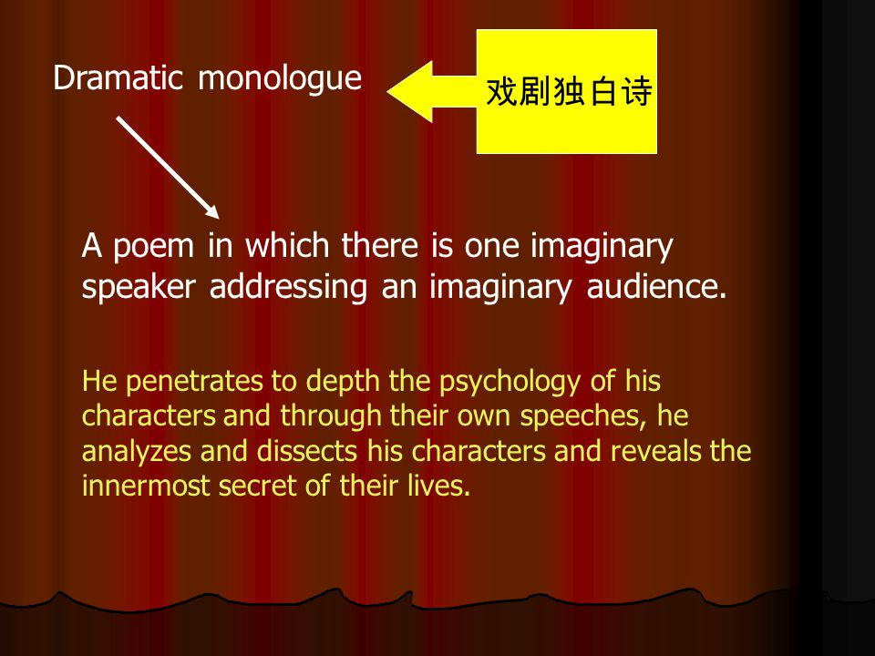 戏剧独白诗 Dramatic monologue