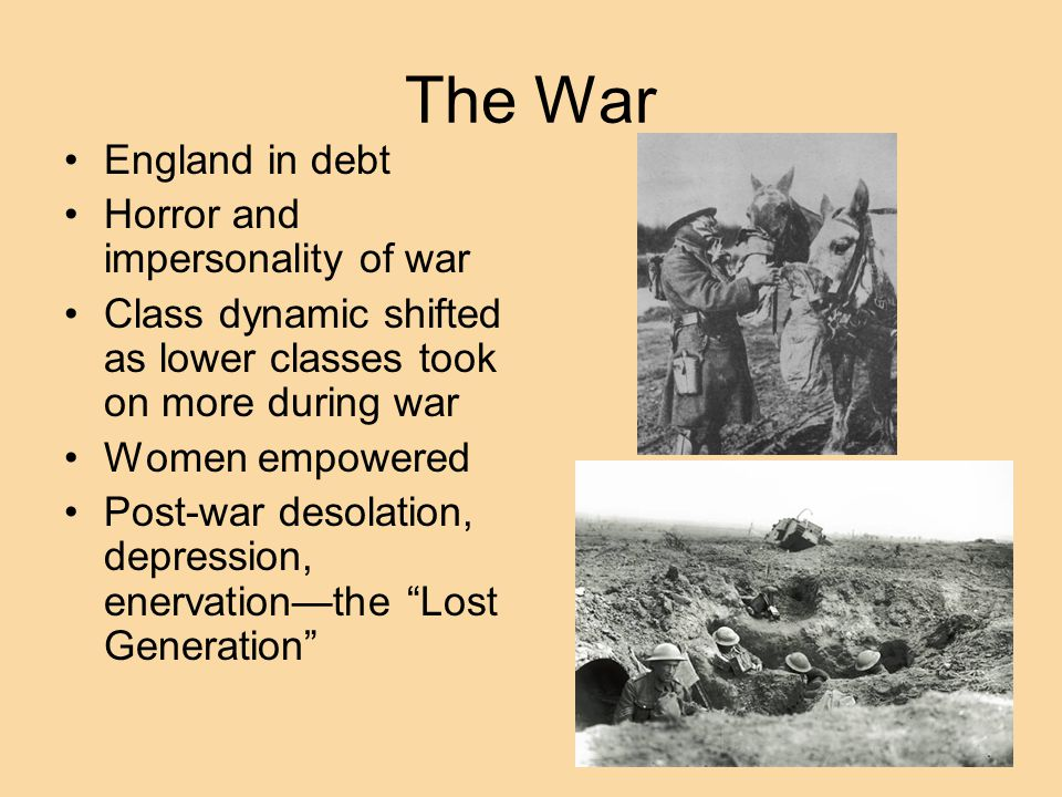 The War England in debt Horror and impersonality of war