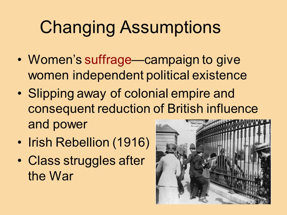 Changing Assumptions Women's suffrage—campaign to give women independent political existence.
