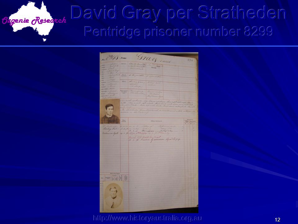 David Gray per Stratheden Pentridge prisoner number 8299