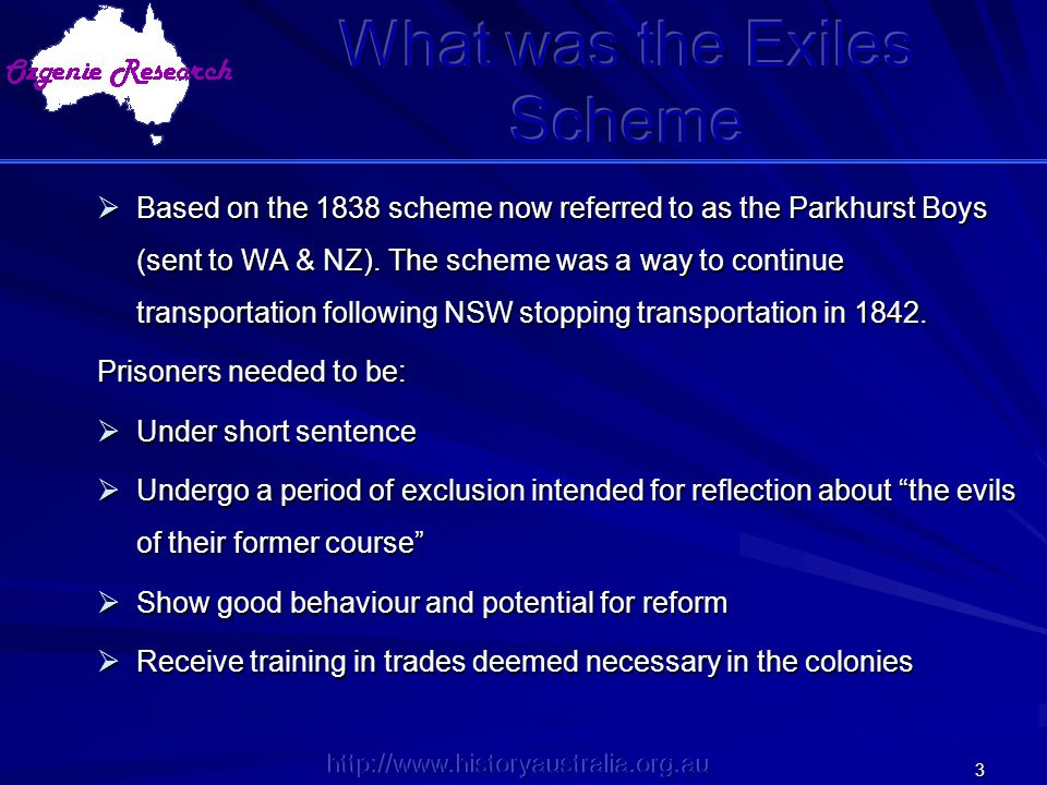 What was the Exiles Scheme