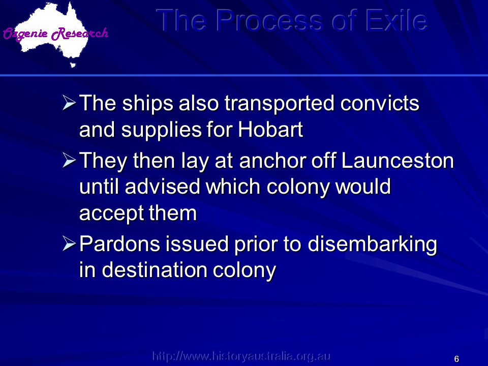 The Process of Exile The ships also transported convicts and supplies for Hobart.