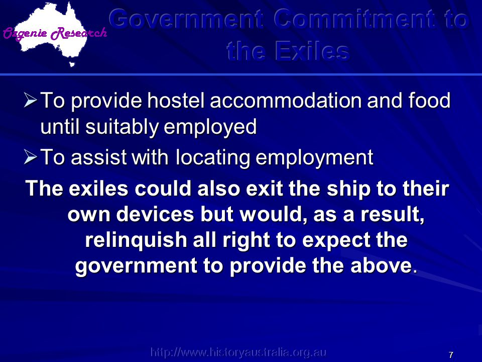 Government Commitment to the Exiles