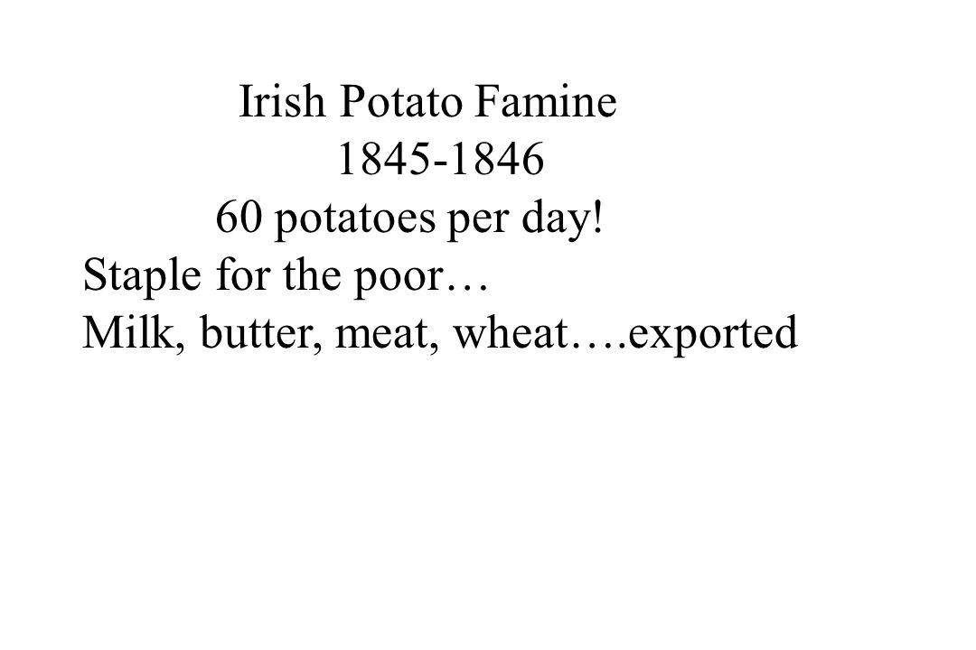 Irish Potato Famine 1845-1846. 60 potatoes per day.