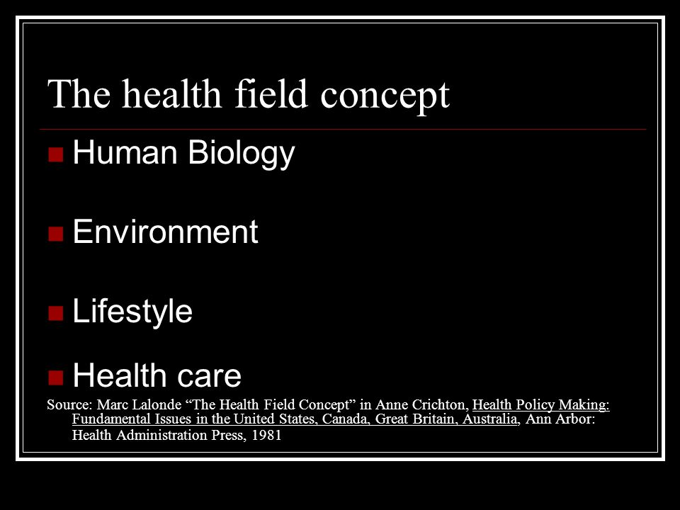 The health field concept