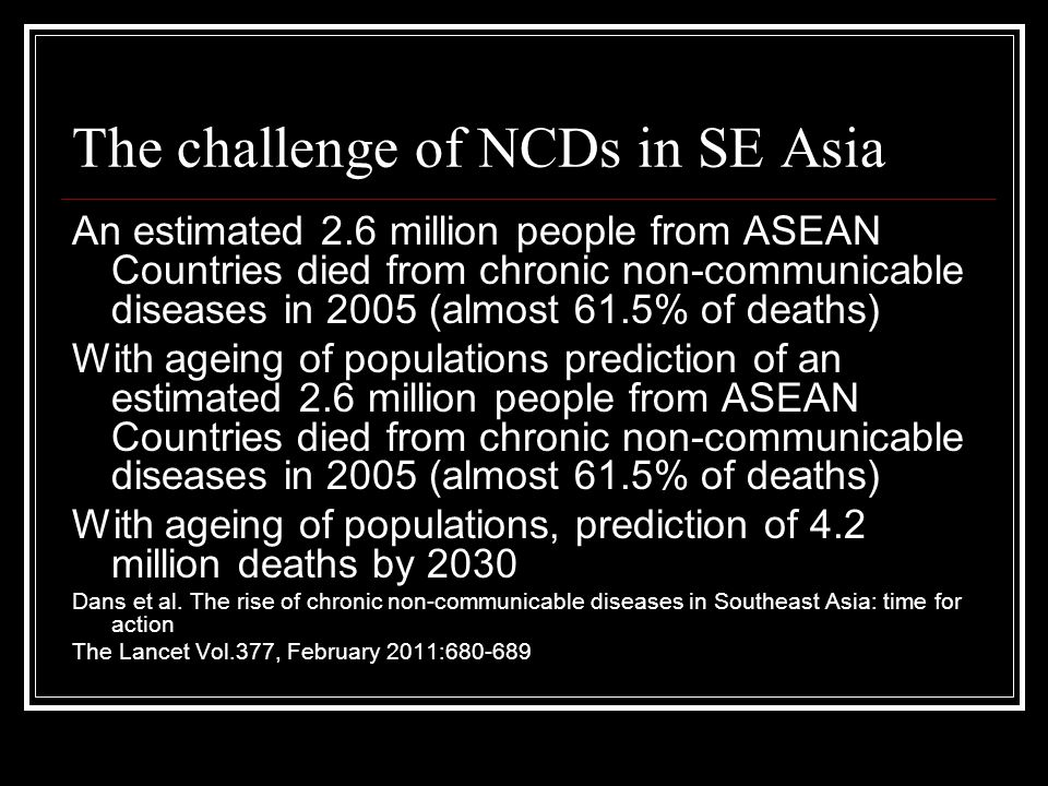 The challenge of NCDs in SE Asia