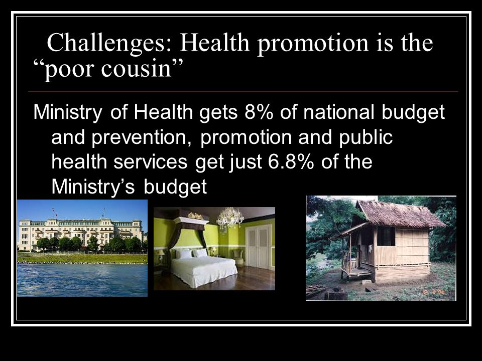 Challenges: Health promotion is the poor cousin