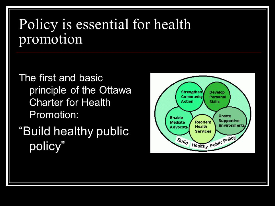 Policy is essential for health promotion