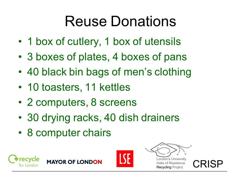 Reuse Donations 1 box of cutlery, 1 box of utensils