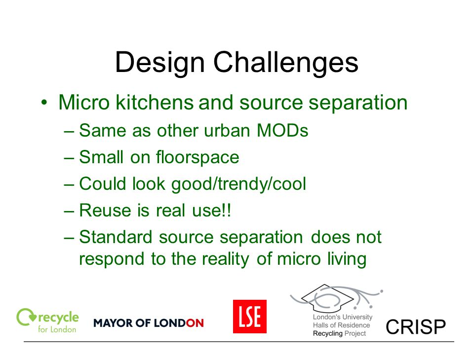 Design Challenges Micro kitchens and source separation