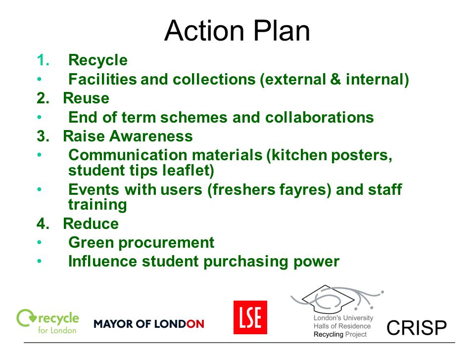 Action Plan Recycle Facilities and collections (external & internal)