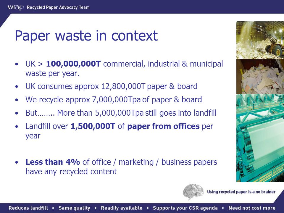 Paper waste in context UK > 100,000,000T commercial, industrial & municipal waste per year. UK consumes approx 12,800,000T paper & board.