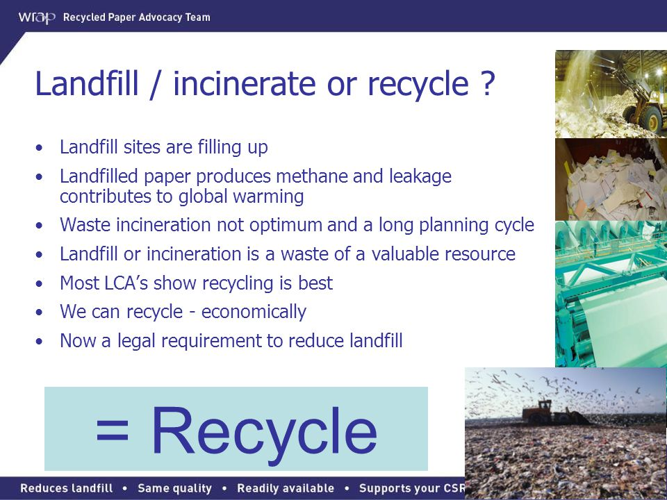 Landfill / incinerate or recycle