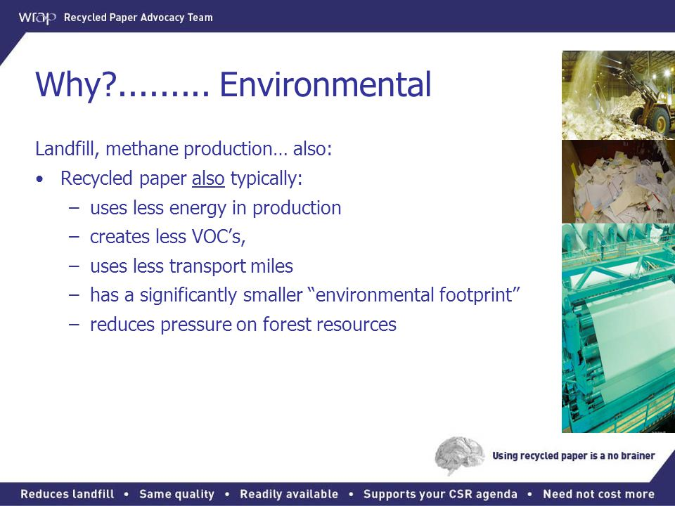 Why ......... Environmental Landfill, methane production… also: