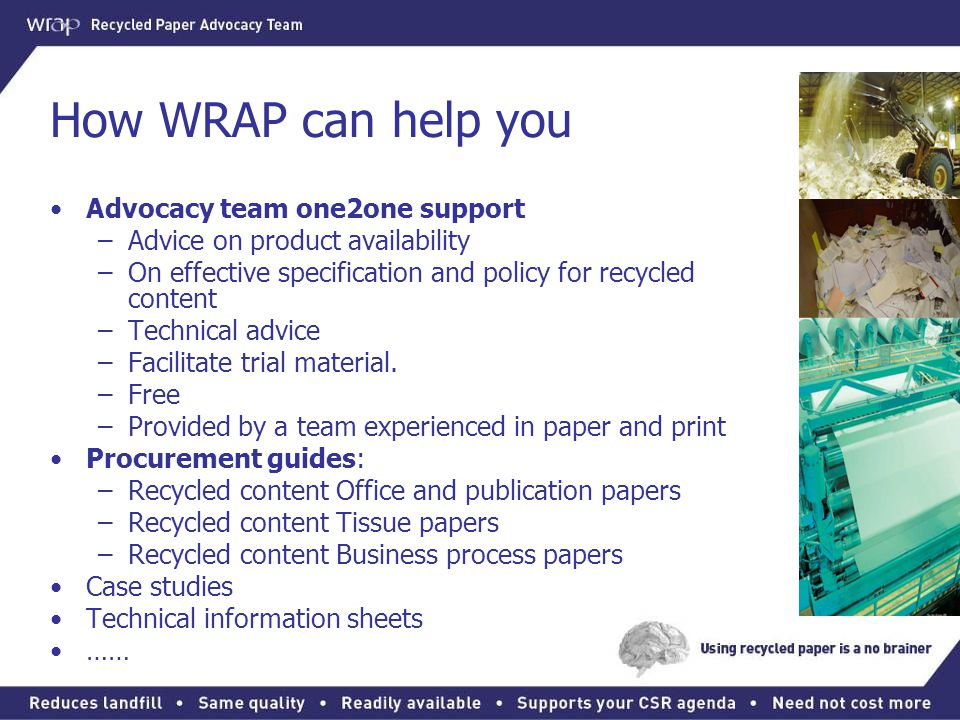 How WRAP can help you Advocacy team one2one support