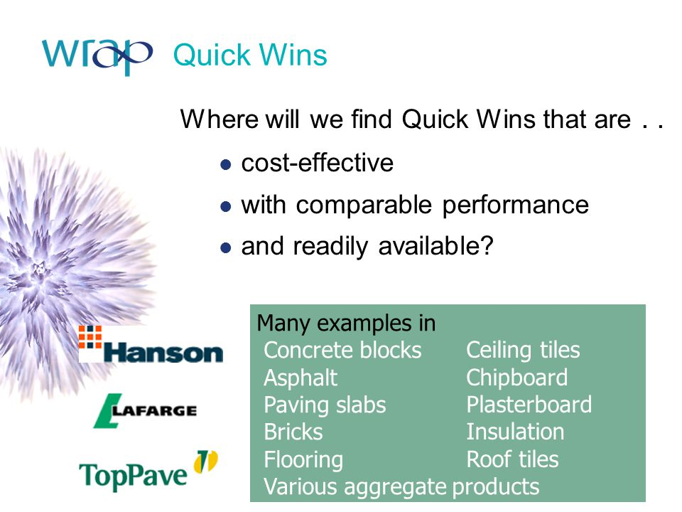 Quick Wins Where will we find Quick Wins that are . . cost-effective