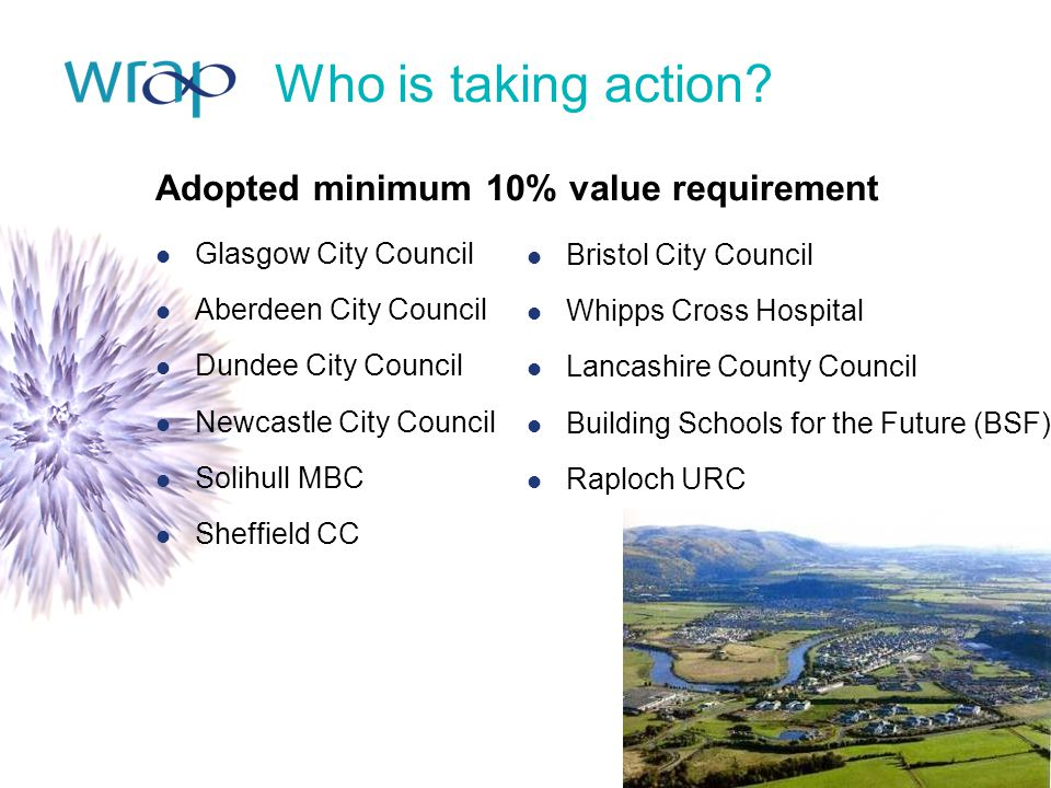Who is taking action Adopted minimum 10% value requirement